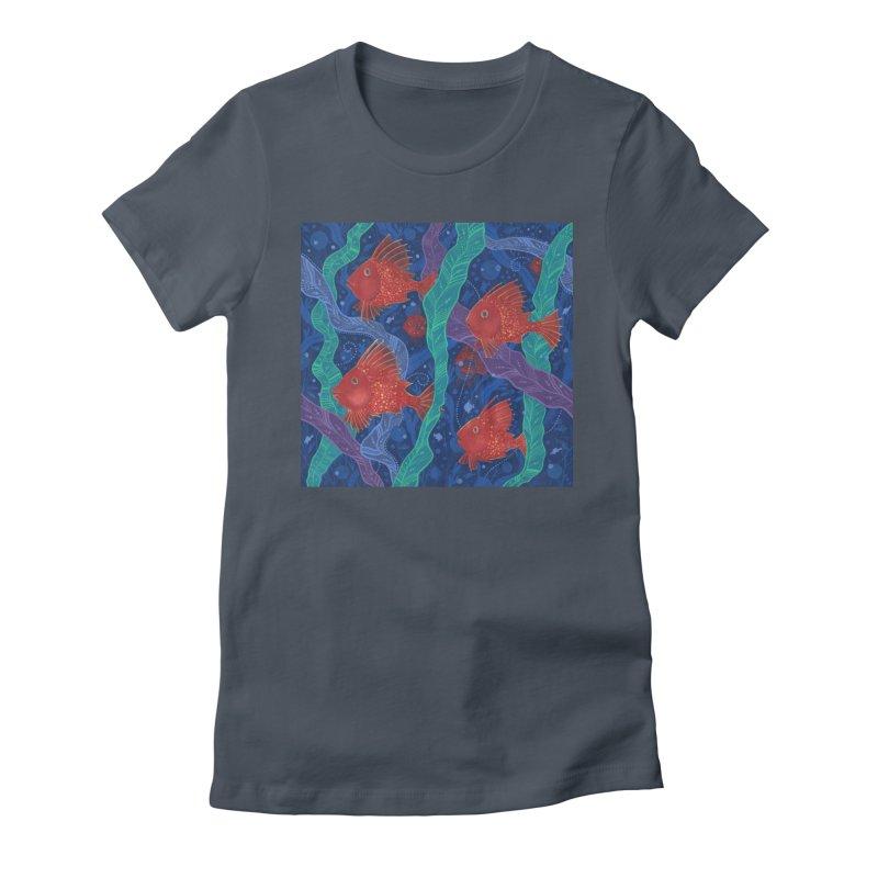 Red Fish, Seaweed, Sea Ocean Animals Underwater World Women's T-Shirt by Clipso-Callipso
