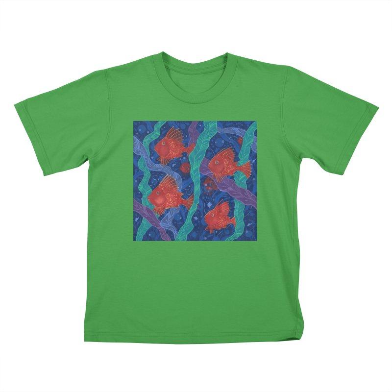 Red Fish, Seaweed, Sea Ocean Animals Underwater World Kids T-Shirt by Clipso-Callipso