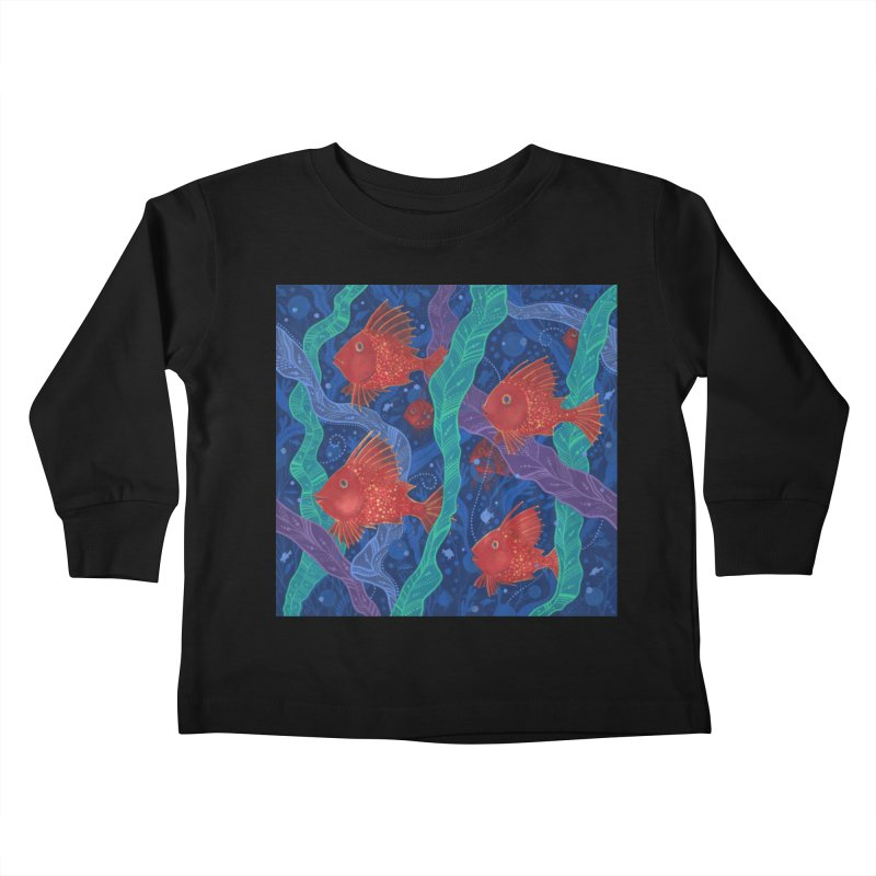Red Fish, Seaweed, Sea Ocean Animals Underwater World Kids Toddler Longsleeve T-Shirt by Clipso-Callipso