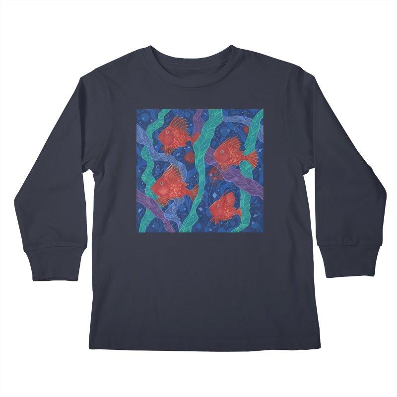 Red Fish, Seaweed, Sea Ocean Animals Underwater World Kids Longsleeve T-Shirt by Clipso-Callipso