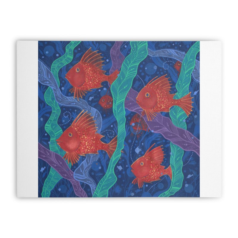 Red Fish, Seaweed, Sea Ocean Animals Underwater World Home Stretched Canvas by Clipso-Callipso