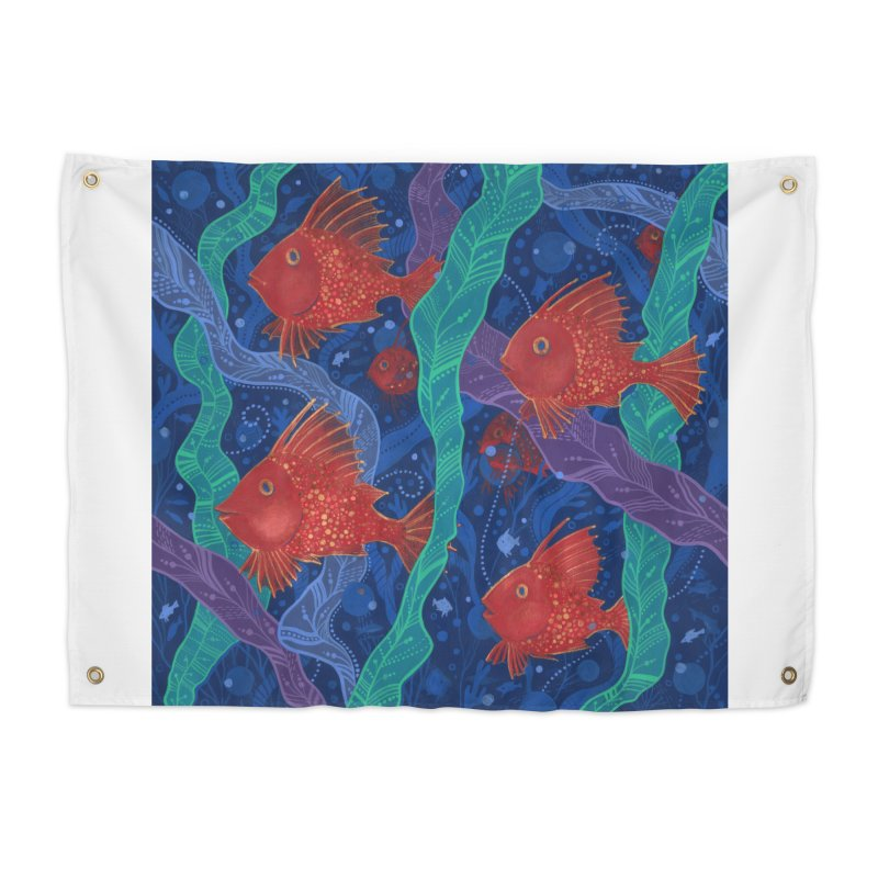 Red Fish, Seaweed, Sea Ocean Animals Underwater World Home Tapestry by Clipso-Callipso