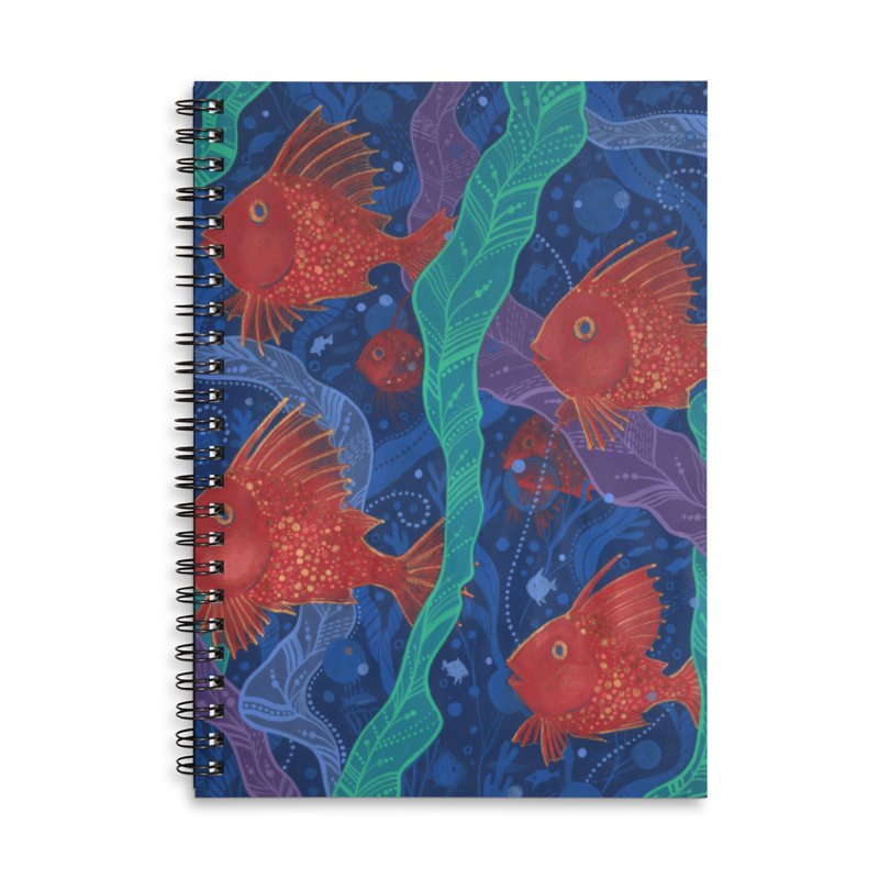 Red Fish, Seaweed, Sea Ocean Animals Underwater World Accessories Notebook by Clipso-Callipso