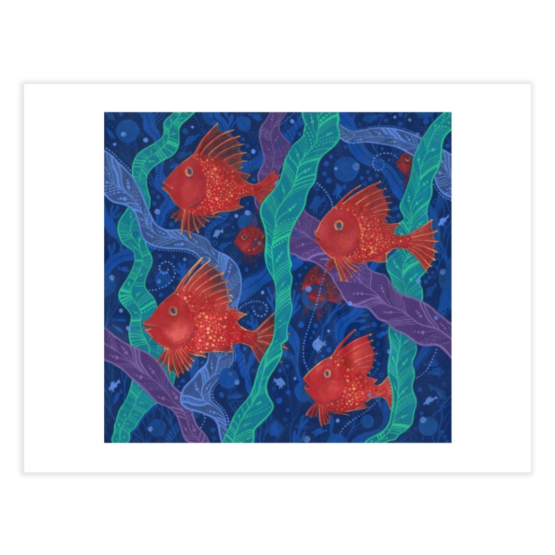 Red Fish, Seaweed, Sea Ocean Animals Underwater World Home Fine Art Print by Clipso-Callipso