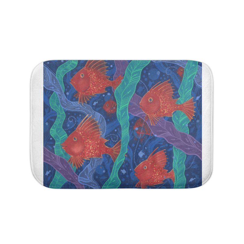 Red Fish, Seaweed, Sea Ocean Animals Underwater World Home Bath Mat by Clipso-Callipso