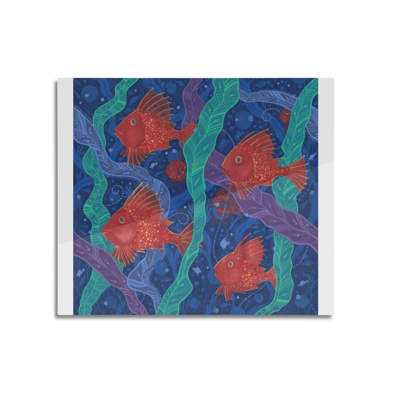 Red Fish, Seaweed, Sea Ocean Animals Underwater World Home Mounted Aluminum Print by Clipso-Callipso
