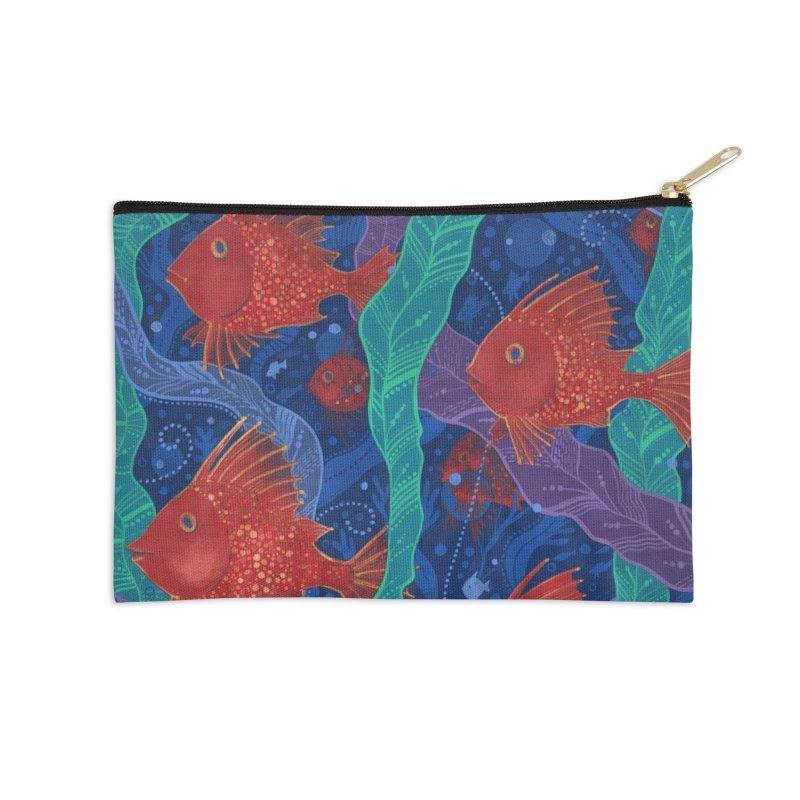 Red Fish, Seaweed, Sea Ocean Animals Underwater World Accessories Zip Pouch by Clipso-Callipso