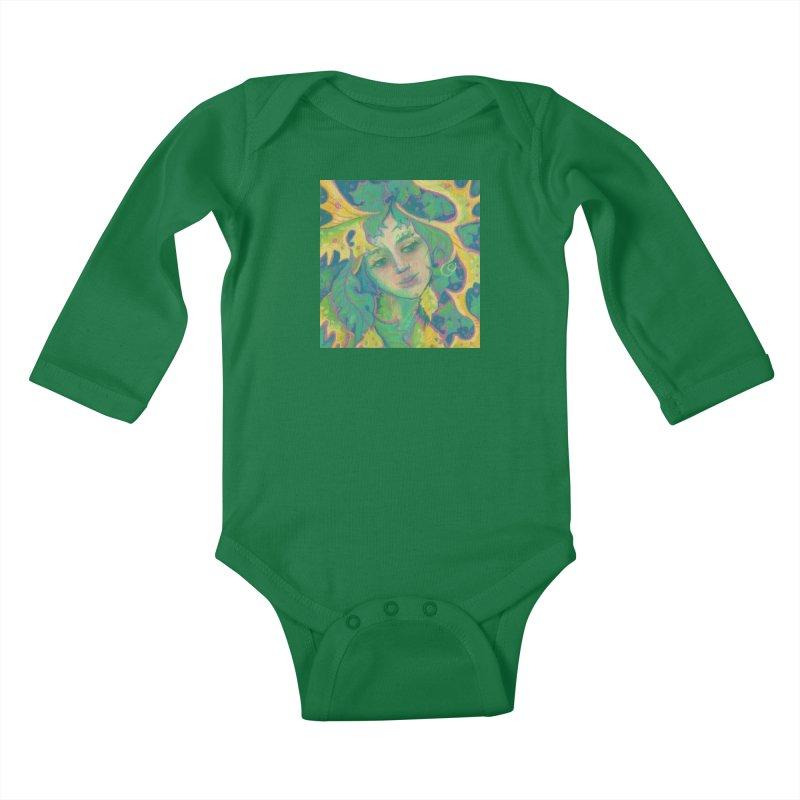 Forest Spirit, Tree Goddess, Fantasy Art Kids Baby Longsleeve Bodysuit by Clipso-Callipso