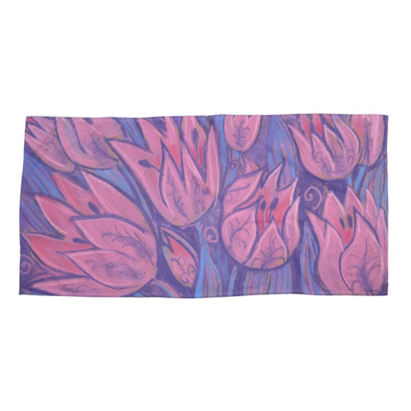 Funky Tulips Floral Art Pastel Painting Pink Violet Accessories Beach Towel by Clipso-Callipso