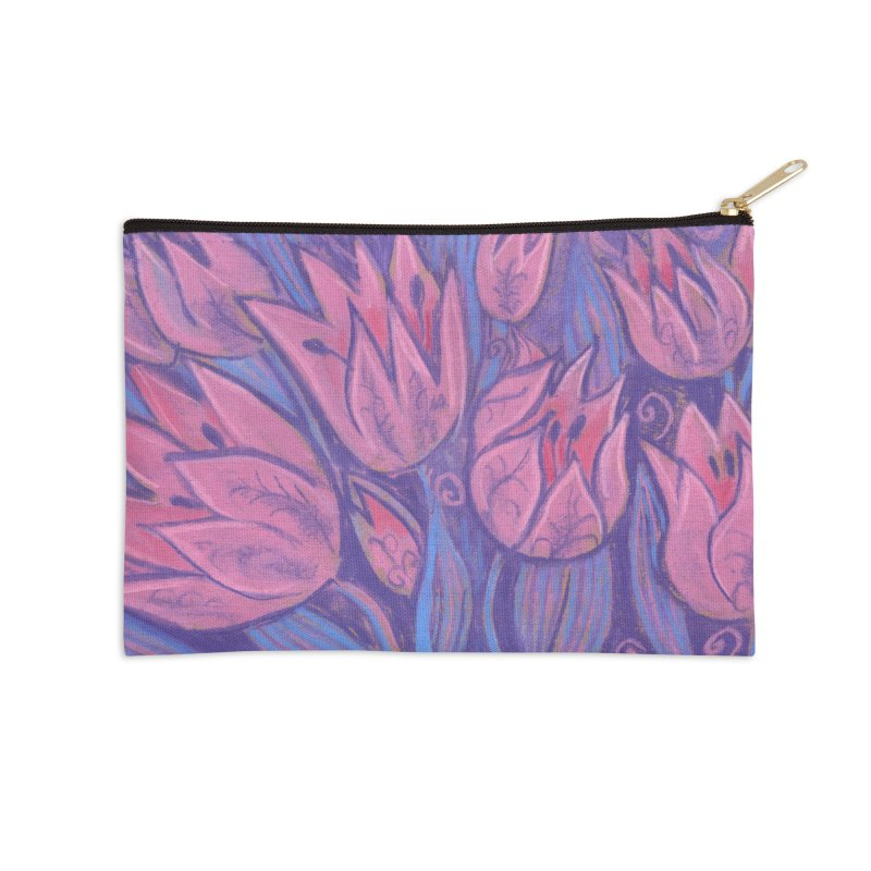 Funky Tulips Floral Art Pastel Painting Pink Violet Accessories Zip Pouch by Clipso-Callipso