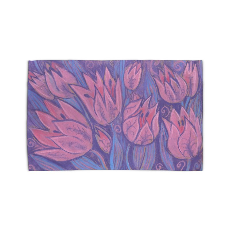 Funky Tulips Floral Art Pastel Painting Pink Violet Home Rug by Clipso-Callipso