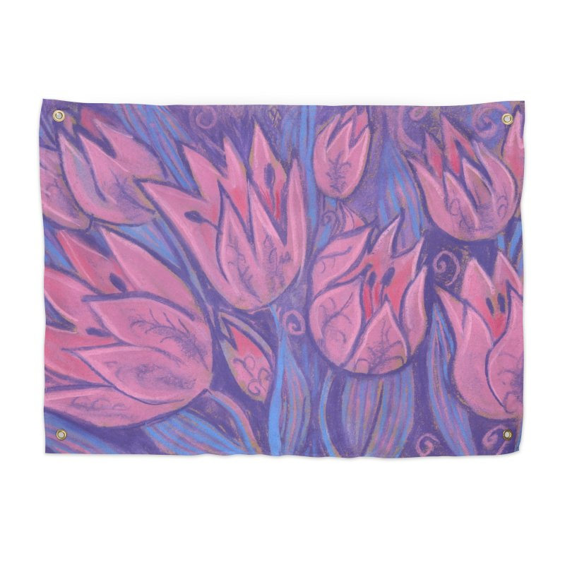 Funky Tulips Floral Art Pastel Painting Pink Violet Home Tapestry by Clipso-Callipso