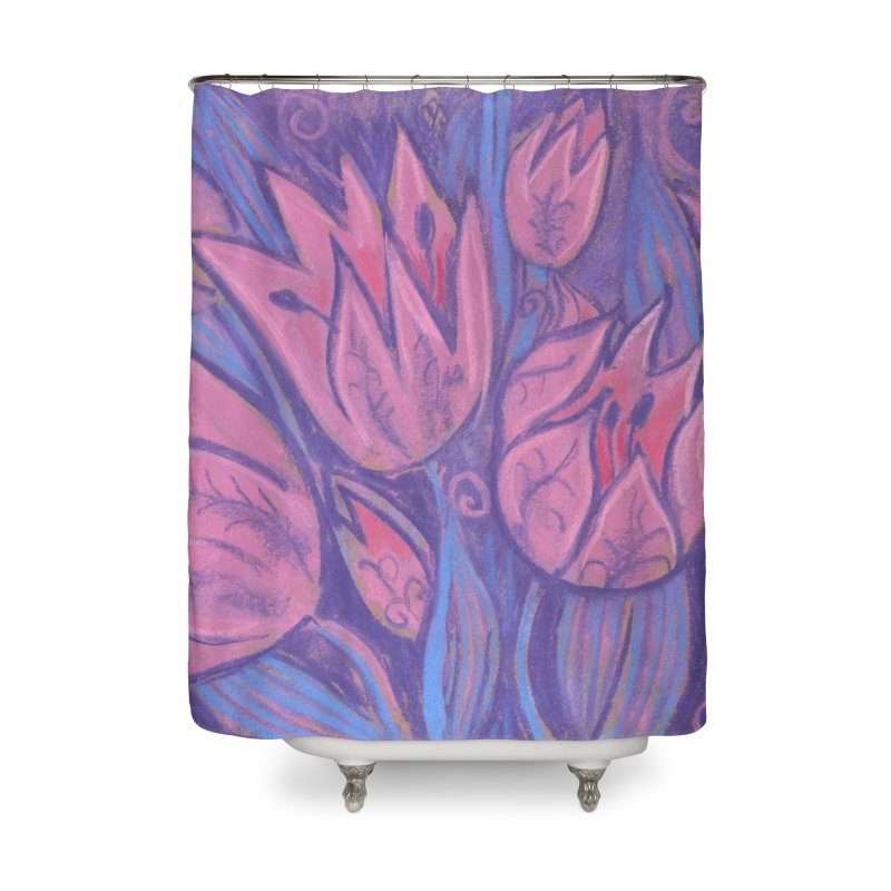 Funky Tulips Floral Art Pastel Painting Pink Violet Home Shower Curtain by Clipso-Callipso