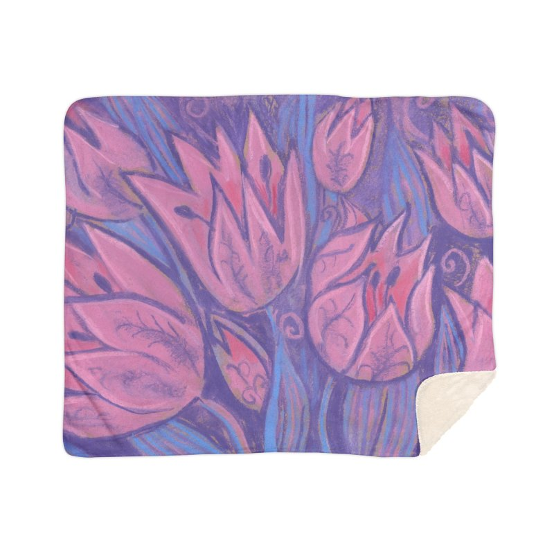Funky Tulips Floral Art Pastel Painting Pink Violet Home Blanket by Clipso-Callipso