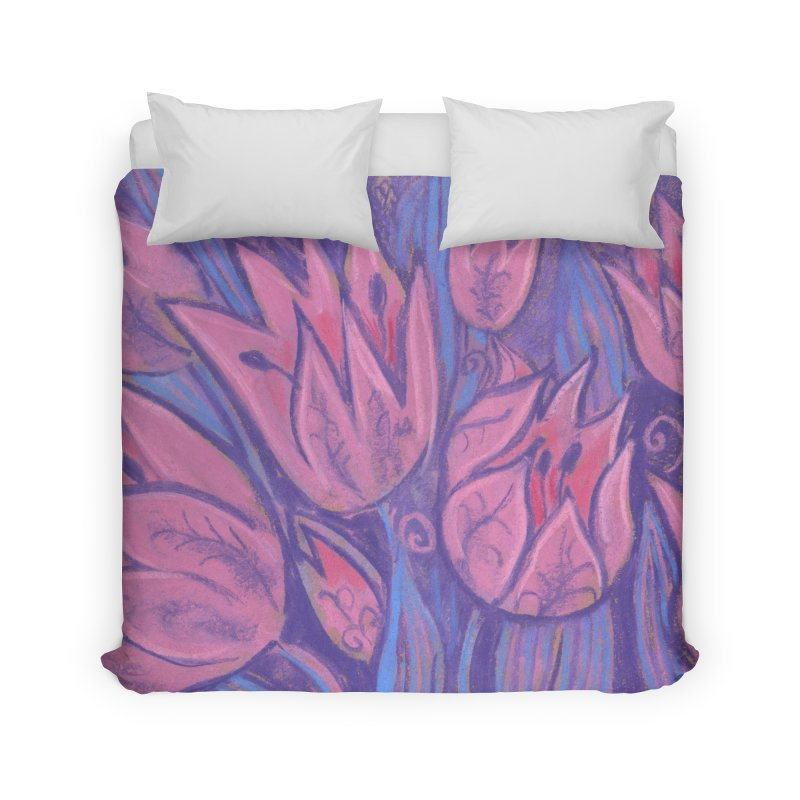 Funky Tulips Floral Art Pastel Painting Pink Violet Home Duvet by Clipso-Callipso