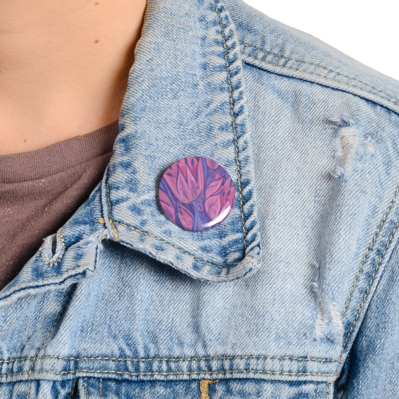 Funky Tulips Floral Art Pastel Painting Pink Violet Accessories Button by Clipso-Callipso