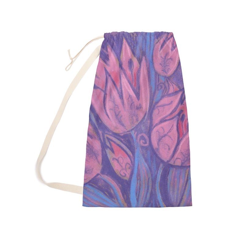 Funky Tulips Floral Art Pastel Painting Pink Violet Accessories Bag by Clipso-Callipso