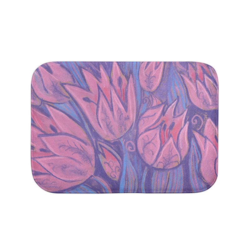 Funky Tulips Floral Art Pastel Painting Pink Violet Home Bath Mat by Clipso-Callipso
