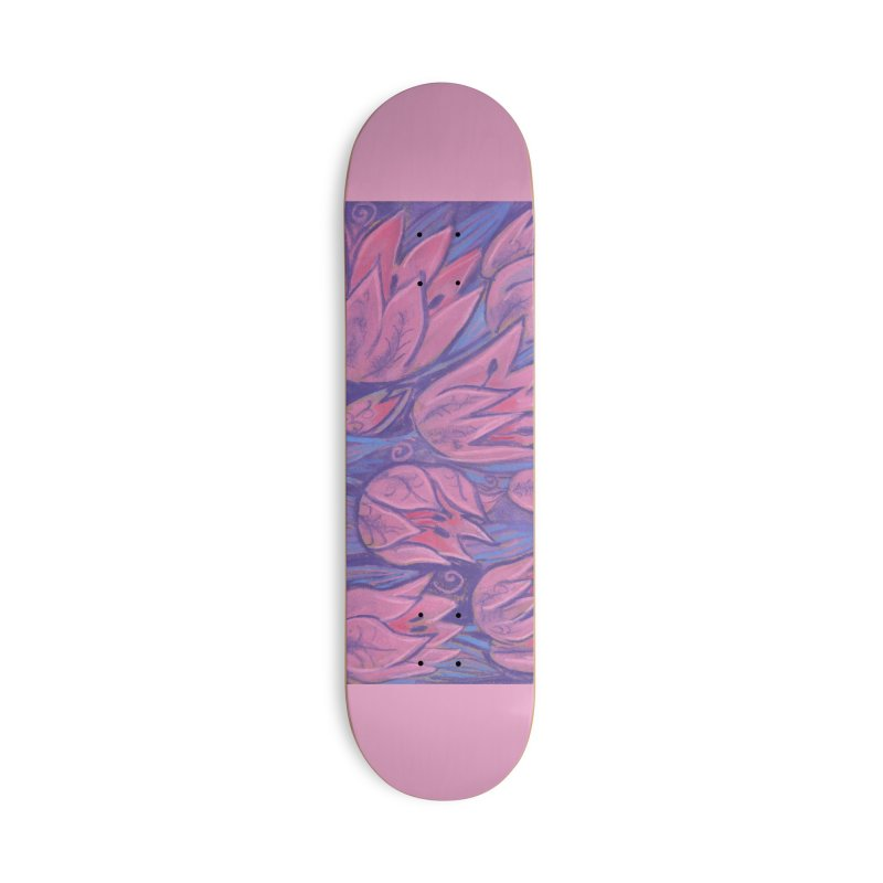 Funky Tulips Floral Art Pastel Painting Pink Violet Accessories Skateboard by Clipso-Callipso