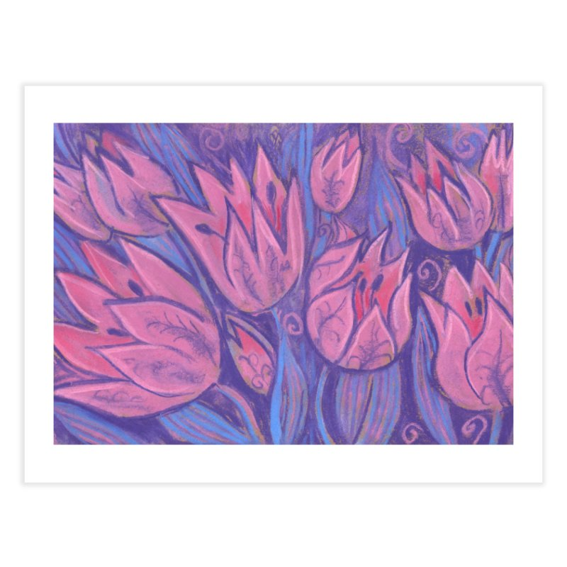 Funky Tulips Floral Art Pastel Painting Pink Violet Home Fine Art Print by Clipso-Callipso
