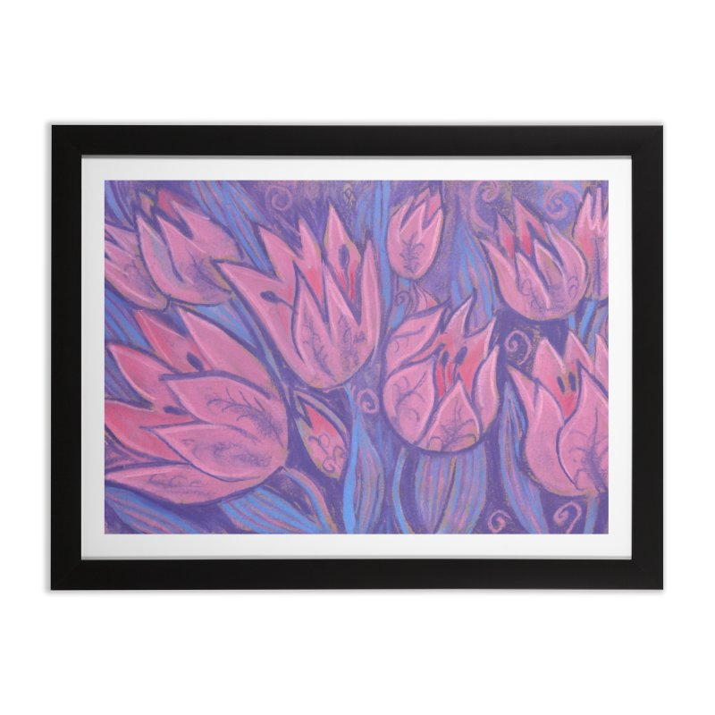 Funky Tulips Floral Art Pastel Painting Pink Violet Home Framed Fine Art Print by Clipso-Callipso