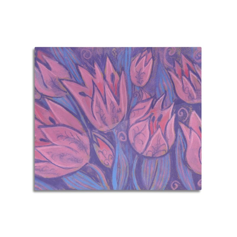 Funky Tulips Floral Art Pastel Painting Pink Violet Home Mounted Aluminum Print by Clipso-Callipso