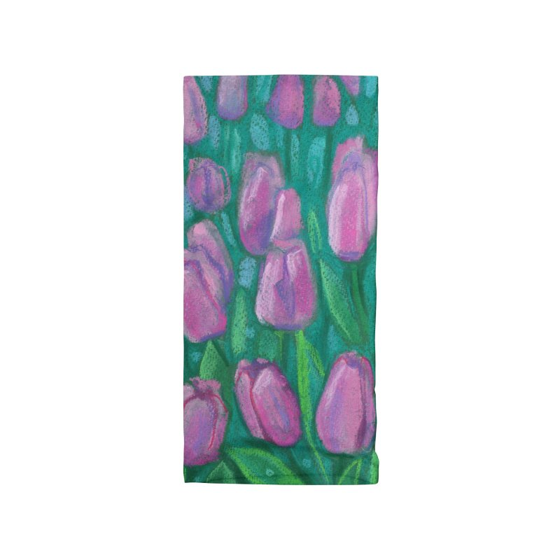 Pink Tulips Field, Spring Flowers Floral Art Pastel Painting Accessories Neck Gaiter by Clipso-Callipso