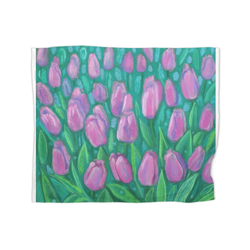 Pink Tulips Field, Spring Flowers Floral Art Pastel Painting Home Blanket by Clipso-Callipso