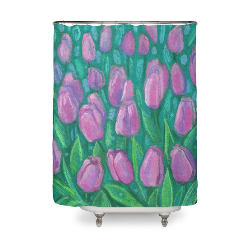 Pink Tulips Field, Spring Flowers Floral Art Pastel Painting Home Shower Curtain by Clipso-Callipso