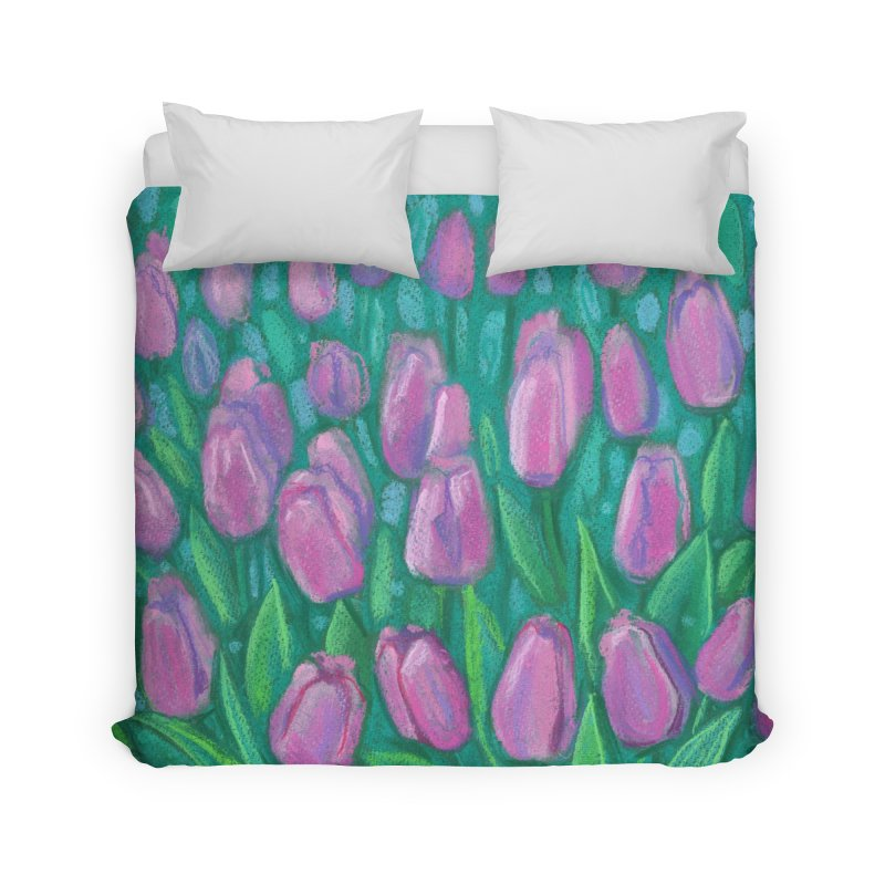 Pink Tulips Field, Spring Flowers Floral Art Pastel Painting Home Duvet by Clipso-Callipso