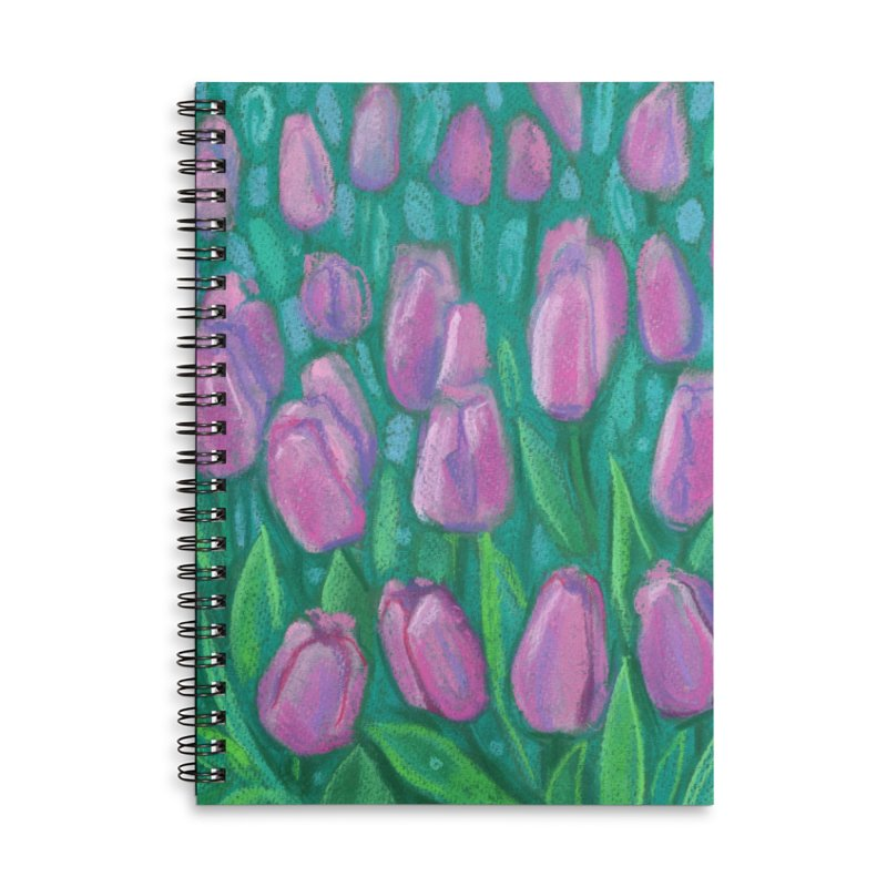 Pink Tulips Field, Spring Flowers Floral Art Pastel Painting Accessories Notebook by Clipso-Callipso