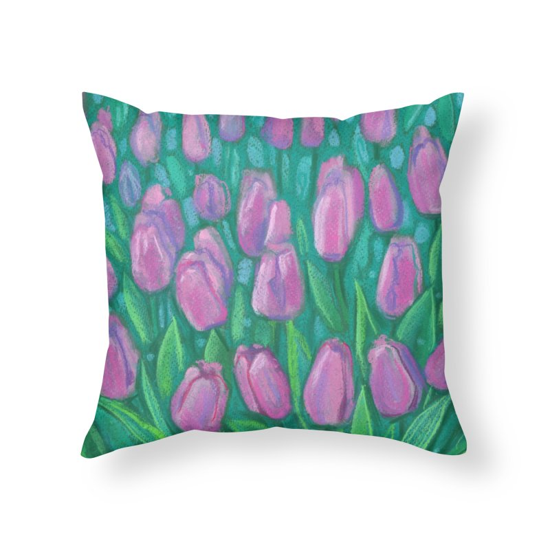 Pink Tulips Field, Spring Flowers Floral Art Pastel Painting Home Throw Pillow by Clipso-Callipso