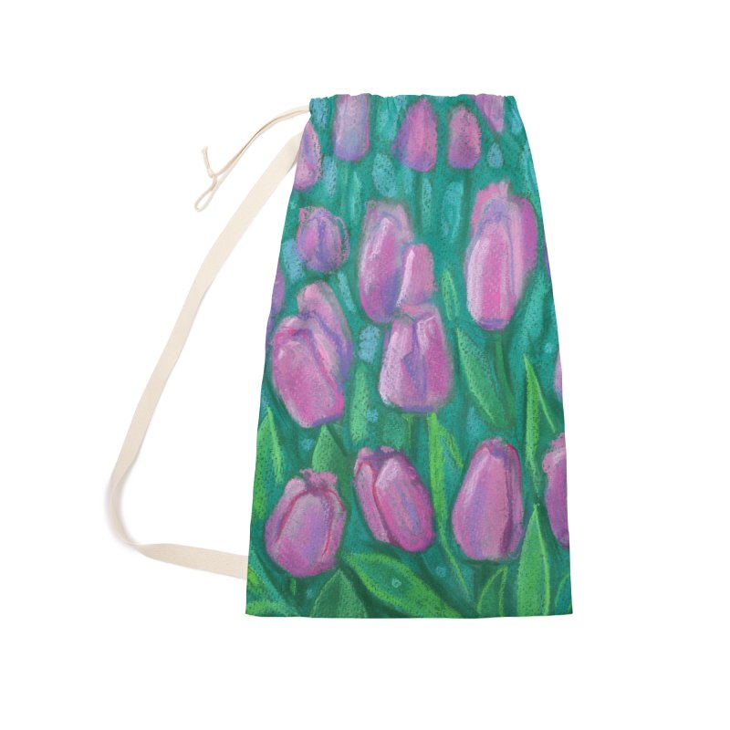 Pink Tulips Field, Spring Flowers Floral Art Pastel Painting Accessories Bag by Clipso-Callipso
