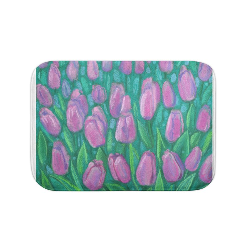 Pink Tulips Field, Spring Flowers Floral Art Pastel Painting Home Bath Mat by Clipso-Callipso