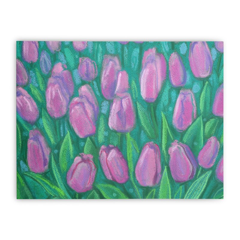 Pink Tulips Field, Spring Flowers Floral Art Pastel Painting Home Stretched Canvas by Clipso-Callipso