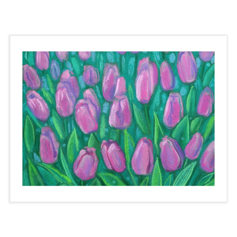 Pink Tulips Field, Spring Flowers Floral Art Pastel Painting Home Fine Art Print by Clipso-Callipso