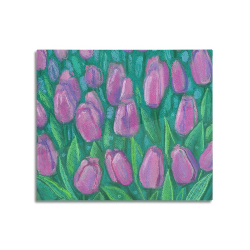 Pink Tulips Field, Spring Flowers Floral Art Pastel Painting Home Mounted Aluminum Print by Clipso-Callipso