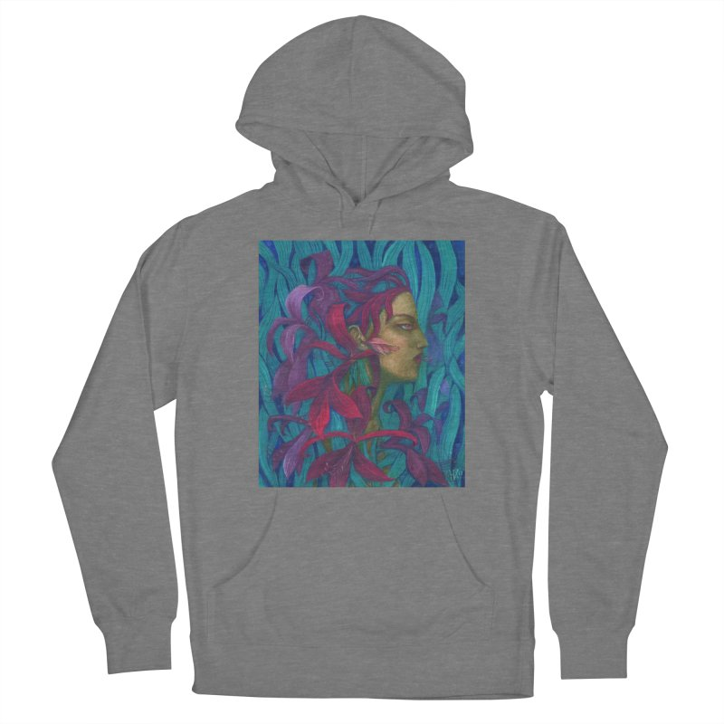 Amaryllis Flower Goddess Fantasy Surreal Painting Men's Pullover Hoody by Clipso-Callipso