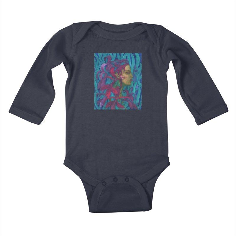 Amaryllis Flower Goddess Fantasy Surreal Painting Kids Baby Longsleeve Bodysuit by Clipso-Callipso