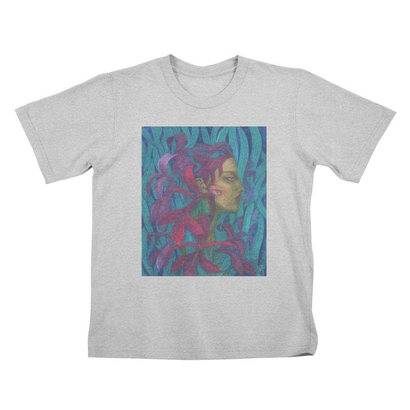 Amaryllis Flower Goddess Fantasy Surreal Painting Kids T-Shirt by Clipso-Callipso