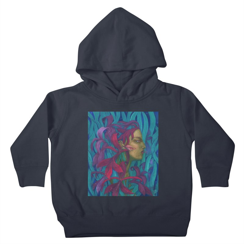Amaryllis Flower Goddess Fantasy Surreal Painting Kids Toddler Pullover Hoody by Clipso-Callipso