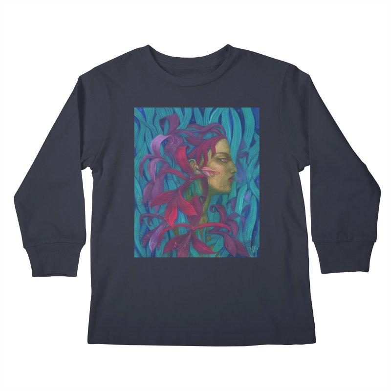 Amaryllis Flower Goddess Fantasy Surreal Painting Kids Longsleeve T-Shirt by Clipso-Callipso