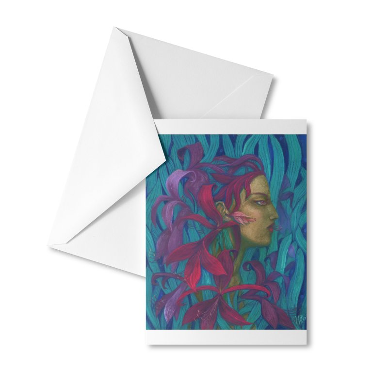 Amaryllis Flower Goddess Fantasy Surreal Painting Accessories Greeting Card by Clipso-Callipso