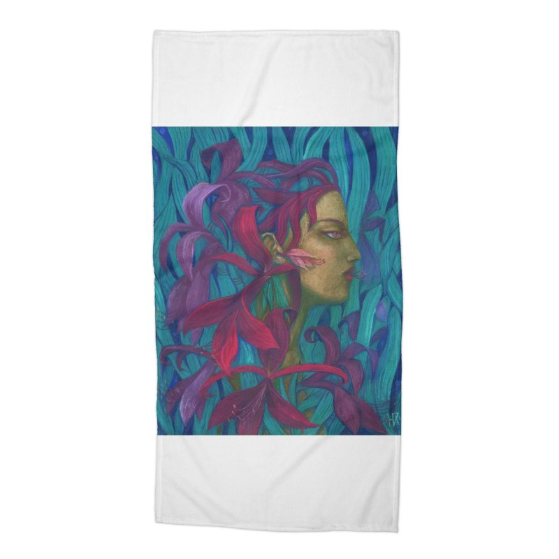 Amaryllis Flower Goddess Fantasy Surreal Painting Accessories Beach Towel by Clipso-Callipso