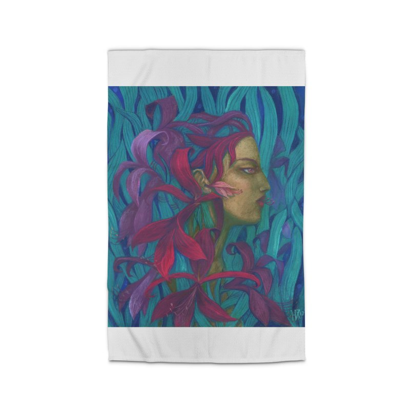Amaryllis Flower Goddess Fantasy Surreal Painting Home Rug by Clipso-Callipso