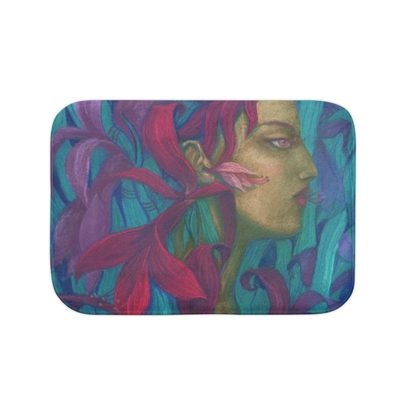 Amaryllis Flower Goddess Fantasy Surreal Painting Home Bath Mat by Clipso-Callipso
