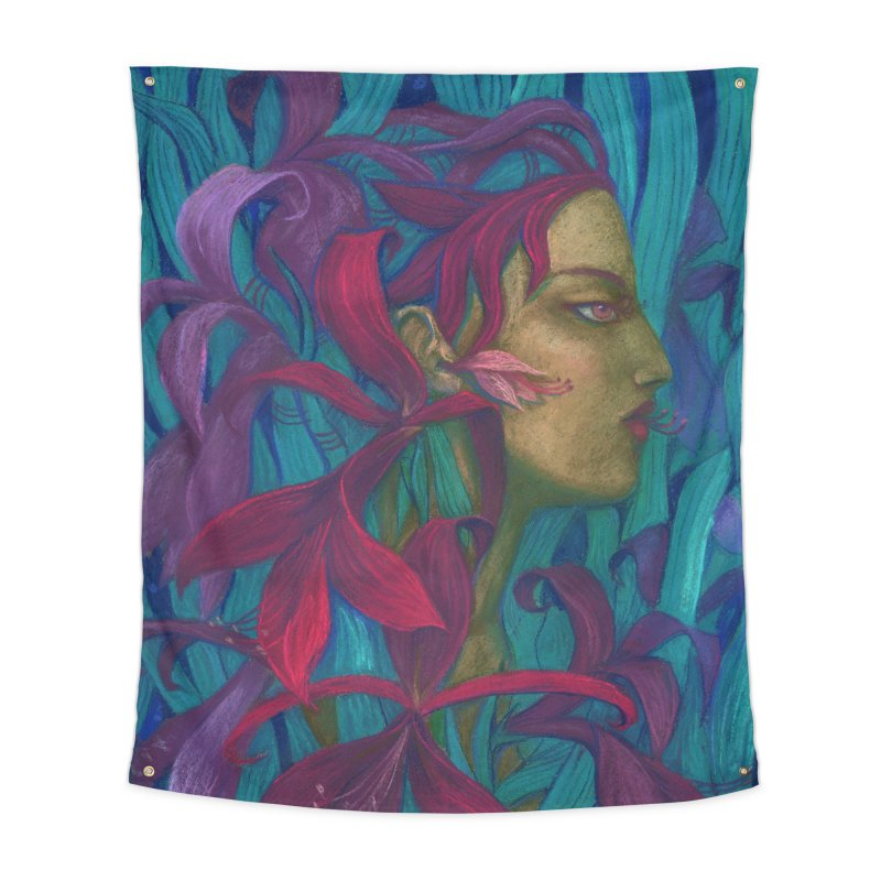 Amaryllis Flower Goddess Fantasy Surreal Painting Home Tapestry by Clipso-Callipso