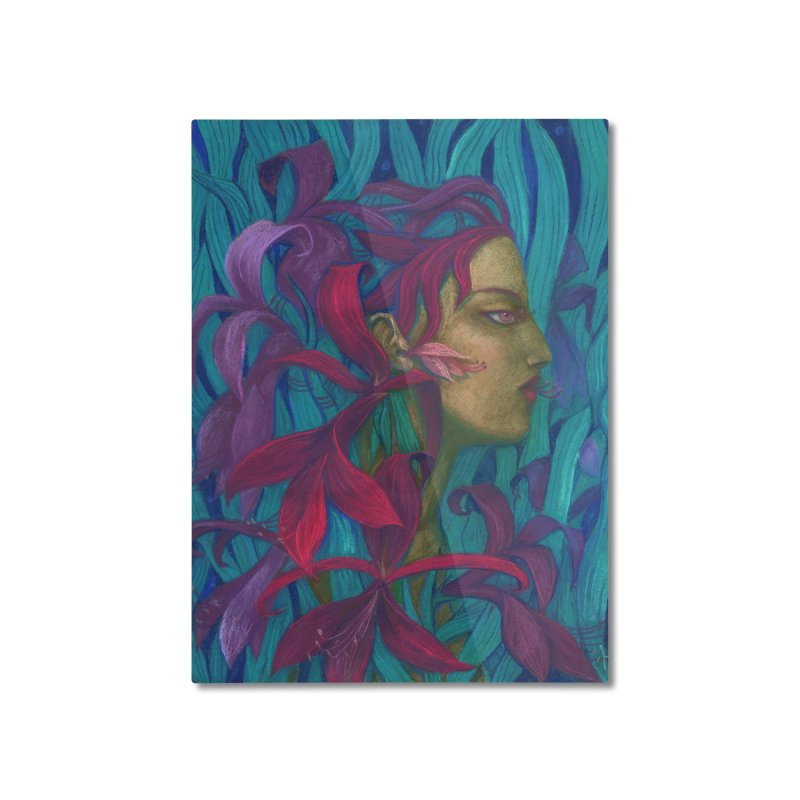 Amaryllis Flower Goddess Fantasy Surreal Painting Home Mounted Aluminum Print by Clipso-Callipso