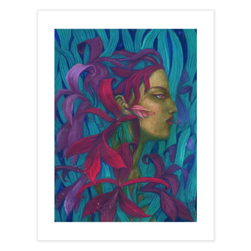 Amaryllis Flower Goddess Fantasy Surreal Painting Home Fine Art Print by Clipso-Callipso