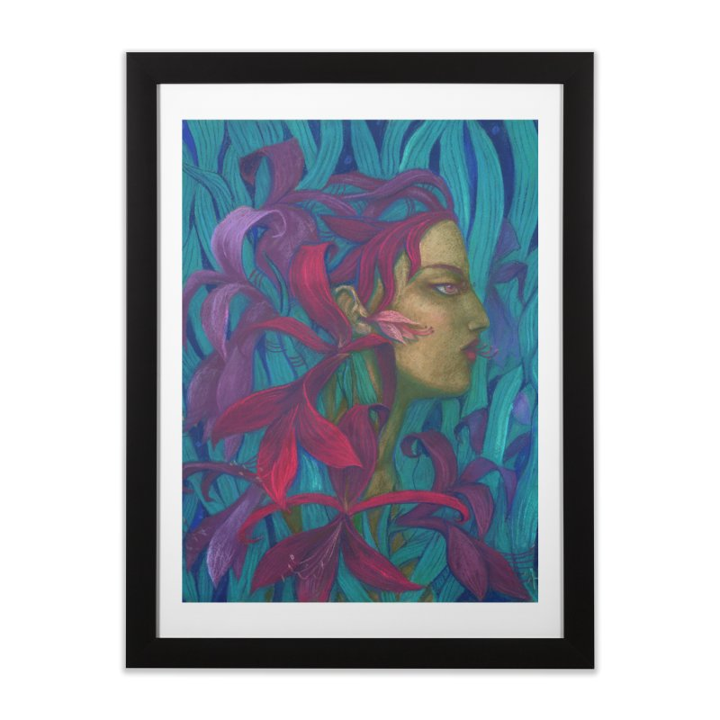 Amaryllis Flower Goddess Fantasy Surreal Painting Home Framed Fine Art Print by Clipso-Callipso